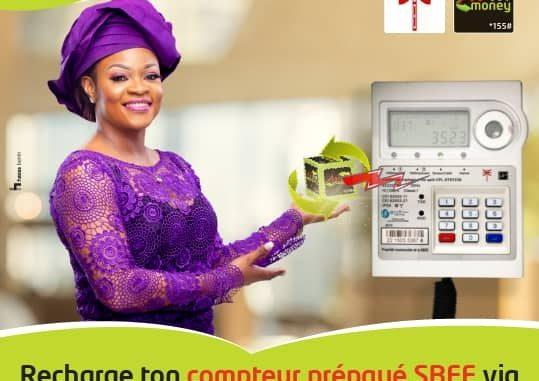 Paiement digital de l'électricité au Bénin Moov Money pour recharger les compteurs prépayés de la SBEE