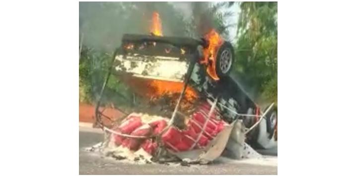 Accident sur la route Agbangnizoun-Lalo 02 blessés graves, 1 véhicule calciné
