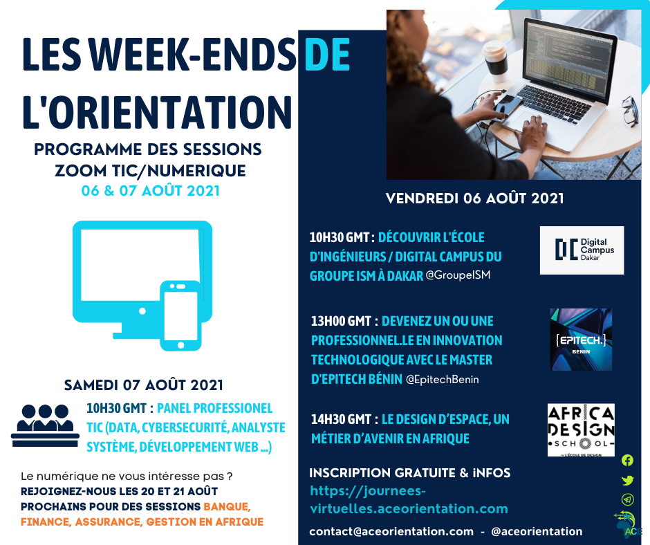 Formations et métiers du Numérique en Afrique! RDV aux Week-ends de l'orientation